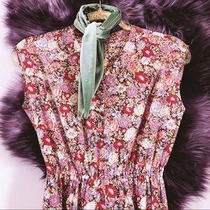 Vtg 70s Floral Boho Midi Dress SM